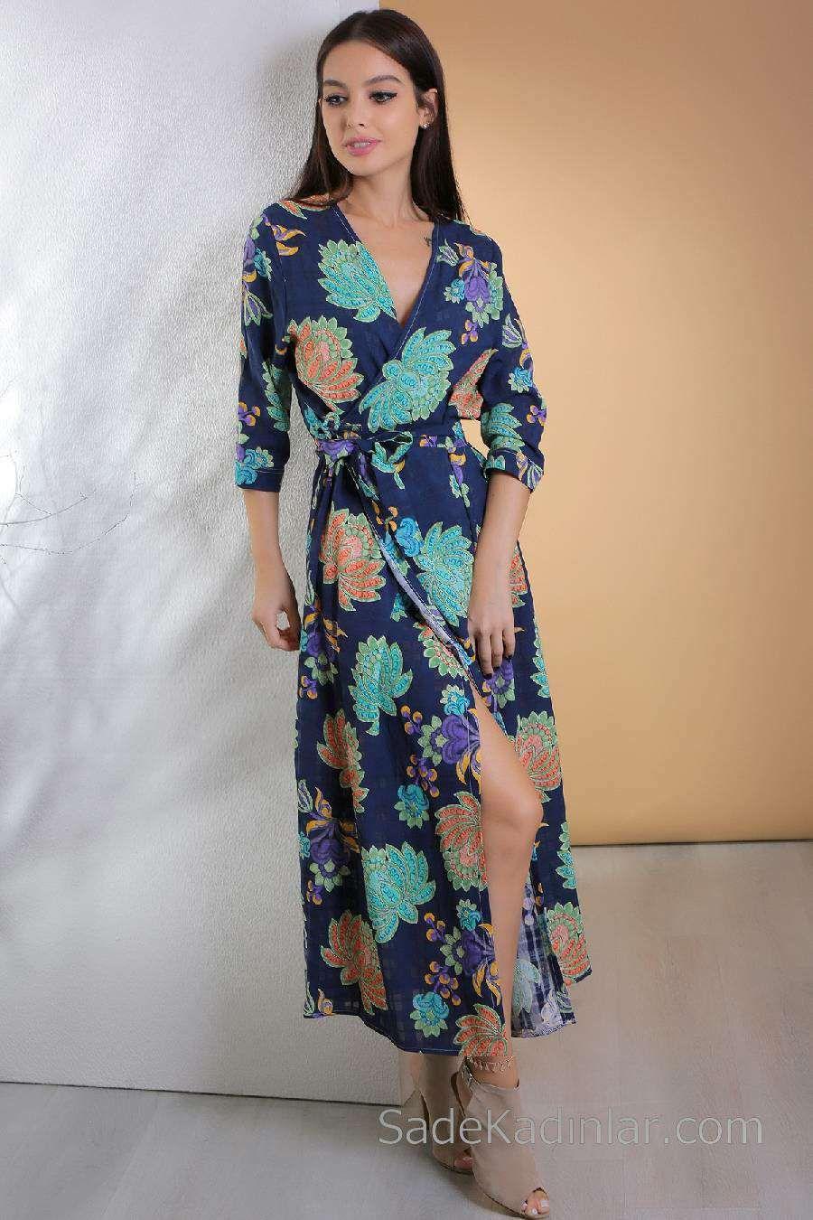 2020 Gunluk Elbise Modelleri Lacivert Uzun V Yakali Belden Baglamali Yirtmacli Elbise Modelleri The Dress Moda Stilleri