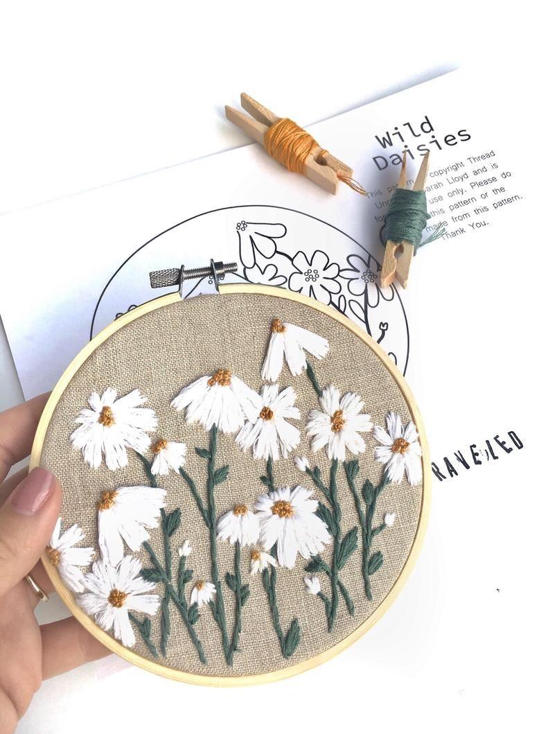 PDF Pattern Wild Daisies DIY – Thread Unraveled – Beginner Embroidery Pattern