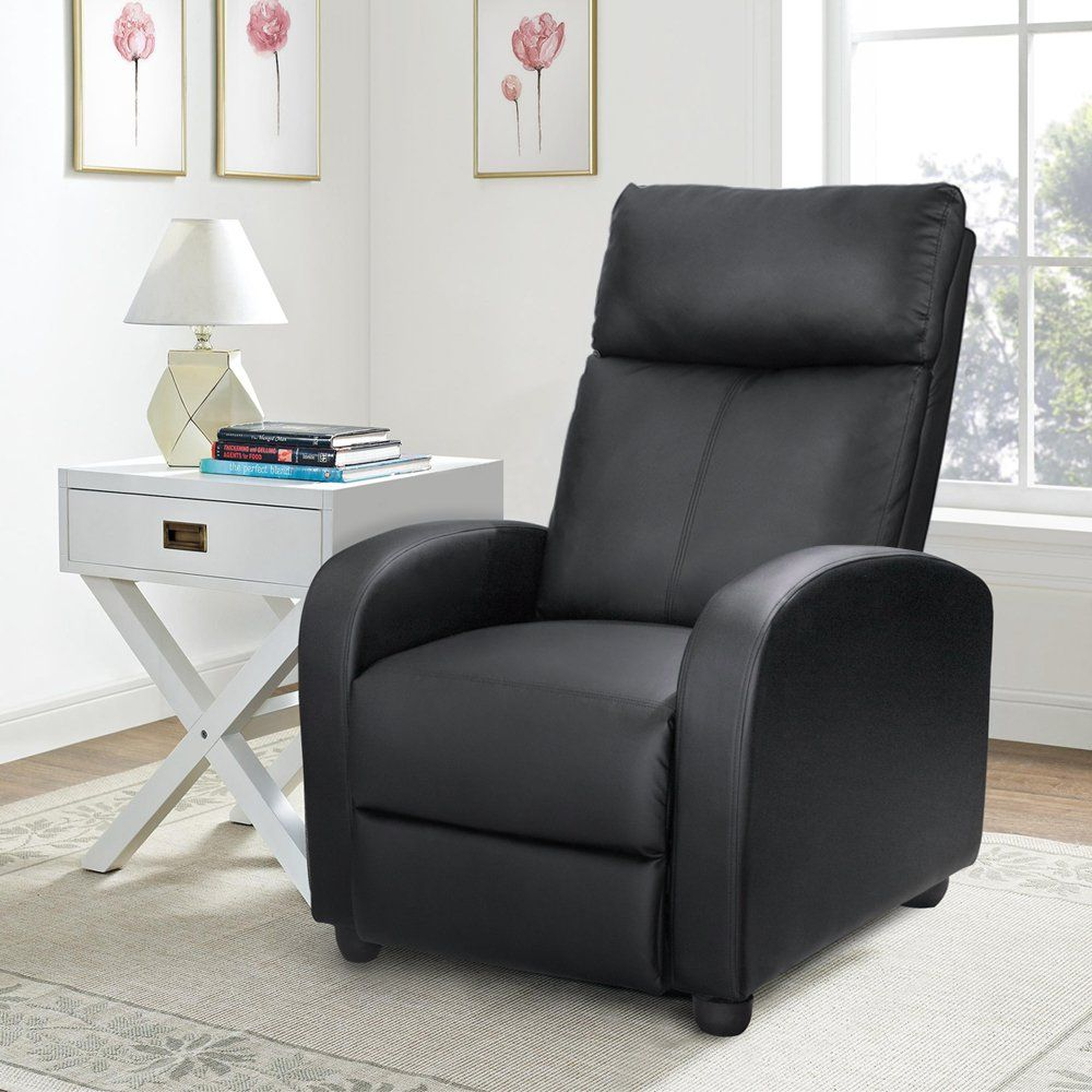 Homall Single Recliner Chair Padded Seat Black Pu Leather Living