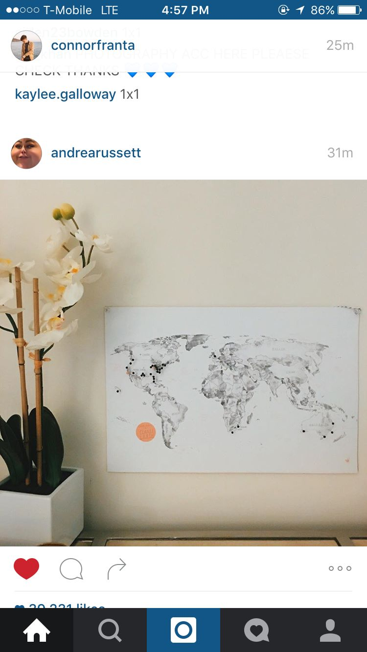 Cool world map to pin places you've been in house