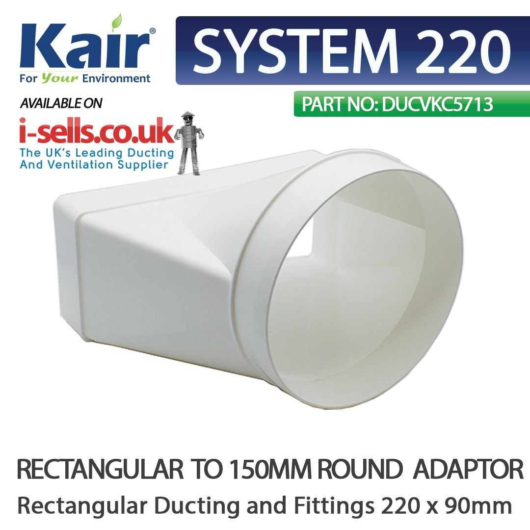 Kair Offset Ducting Adaptor 220mm X 90mm To 150mm 6 Inch Rectangular To Round Kitchen Wall Units Rectangular Kitchen Extractor