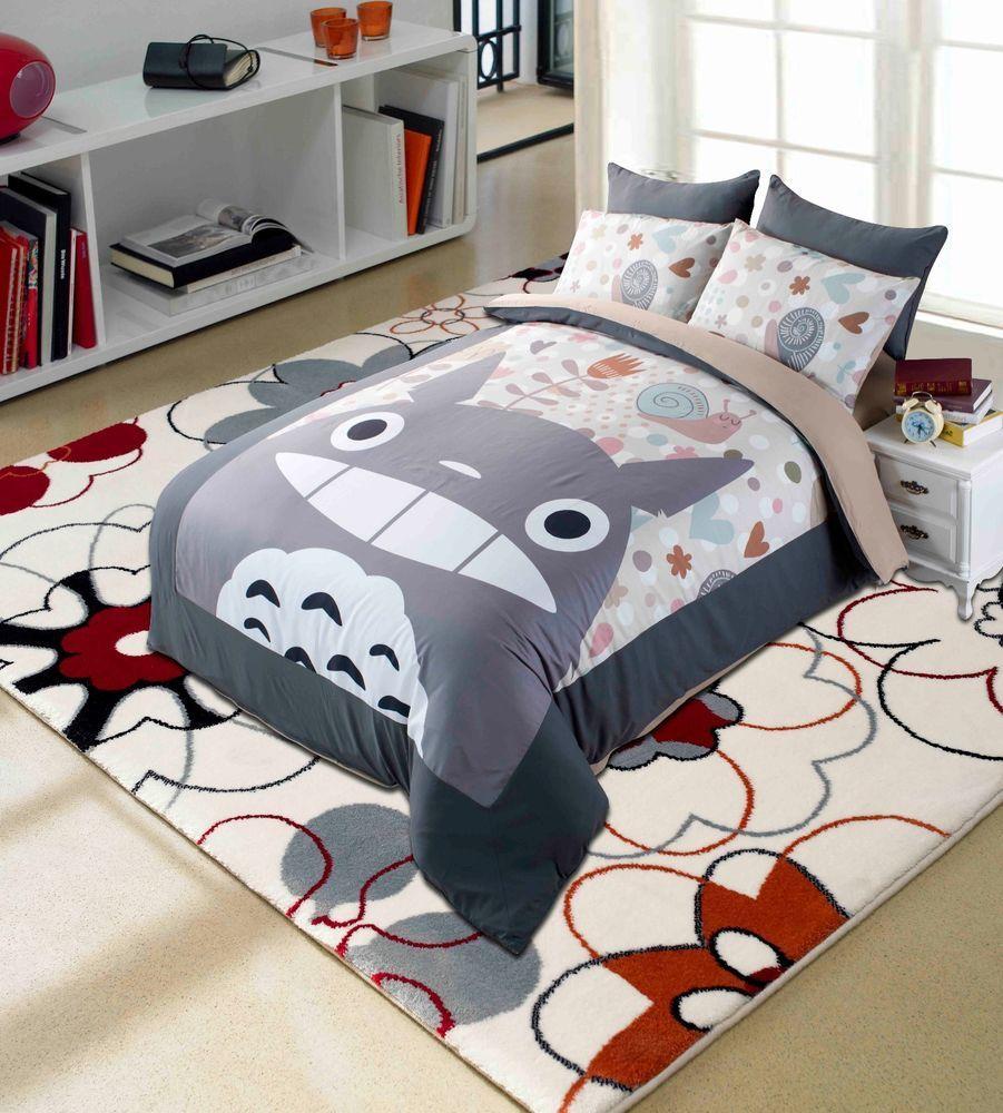Anime my neighbor totoro bedding set 4 pcs cartoon duvet