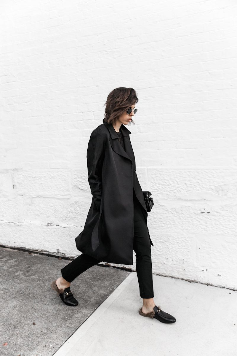cf1ecac5ad6 all black reiss modern legacy fashion blogger Gucci Princetown fur loafers  Proenza Schouler PS11 mini outfit workwear 90s (4 of 9)