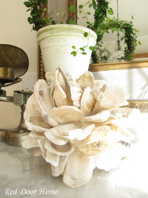 Red Door Home Decorating With Shells An Oyster Shell Ball Tutorial Oyster Shells Decor Oyster Shell Crafts Oysters