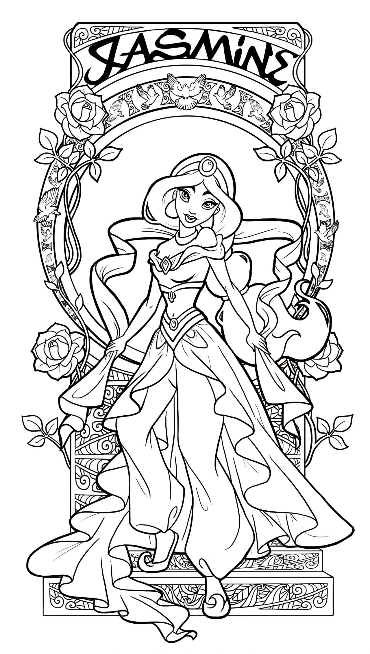 Jasmine Art Nouveau Lineart By Paola Tosca On Deviantart Disney Princess Coloring Pages Disney Coloring Pages Princess Coloring Pages