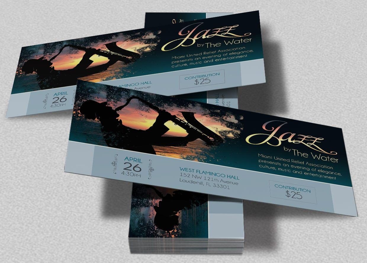 jazz concert event ticket template design pinterest templates