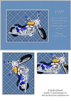 Dad Motorbike with Verse on Craftsuprint designed by Jackie Edwards - A great card for fathers day. - Now available for download!