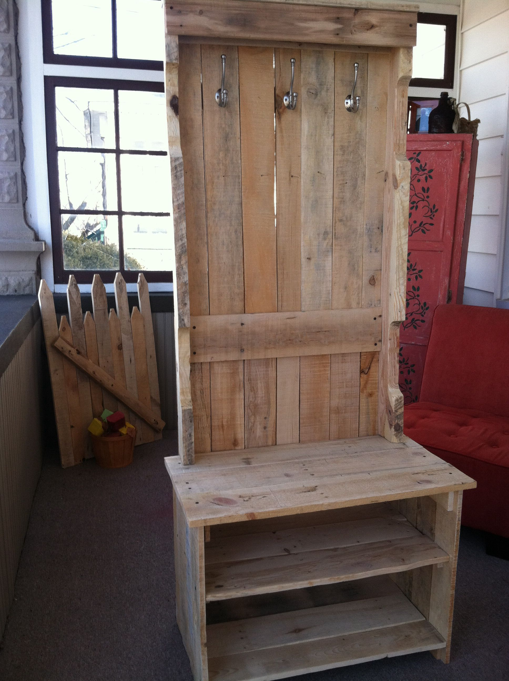 Coat Rack Bench Pallets Yep We Did This Out Of