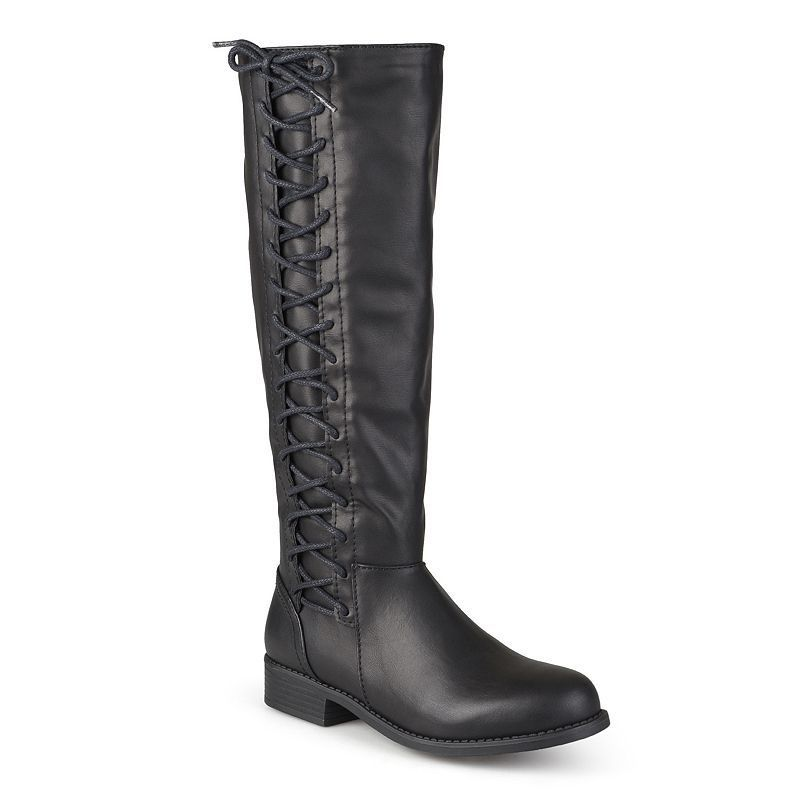 Journee Collection Cinch Women's Knee-High Lace-Up Riding Boots, Girl's, Size: 7.5 Wc, Black