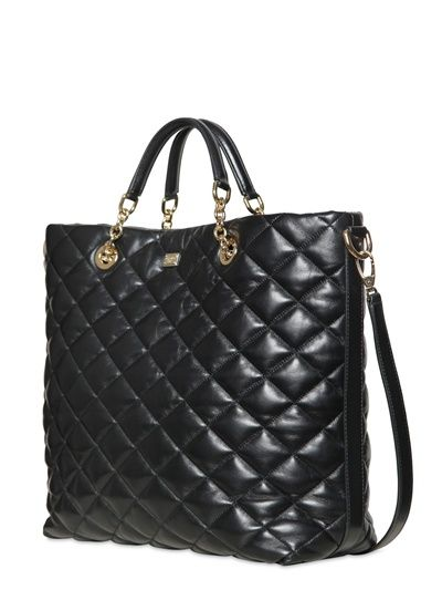 Dolce Gabbana Kate Quilted Nappa Leather Tote Bag Mode Peches Mignons Noir