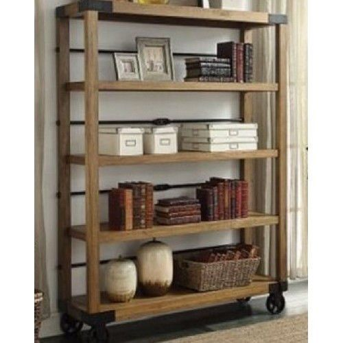 Industrial Bookcase Vintage Portable Bookshelf Display Shelving Rolling Wheels