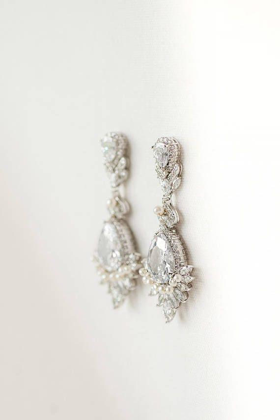 eceda1bfc01d CZ pendientes de novia pendientes novia perlas cristal