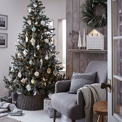 John Lewis Christmas Tree Themes.John Lewis Helsinki 7ft Silver Forest Spruce Christmas Tree