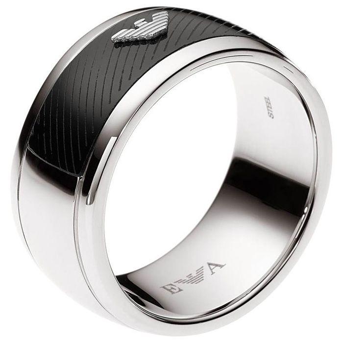 a162b65a5eab Emporio Armani Mens Ring Steel + Onyx EGS1541040