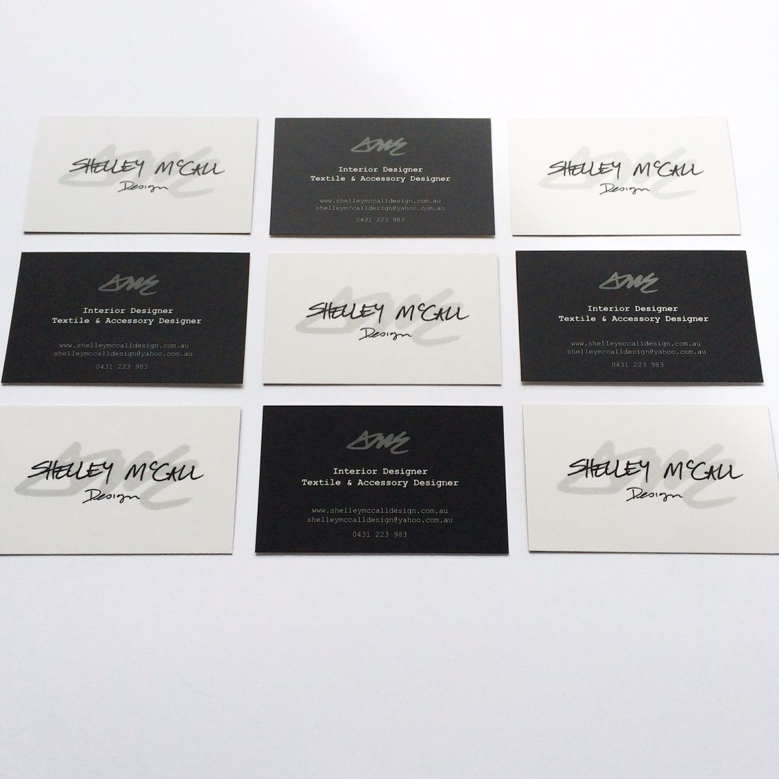 Monochrome business card design. Fresh off the press these are ready to be held by lots of people! #shelleymccalldesign