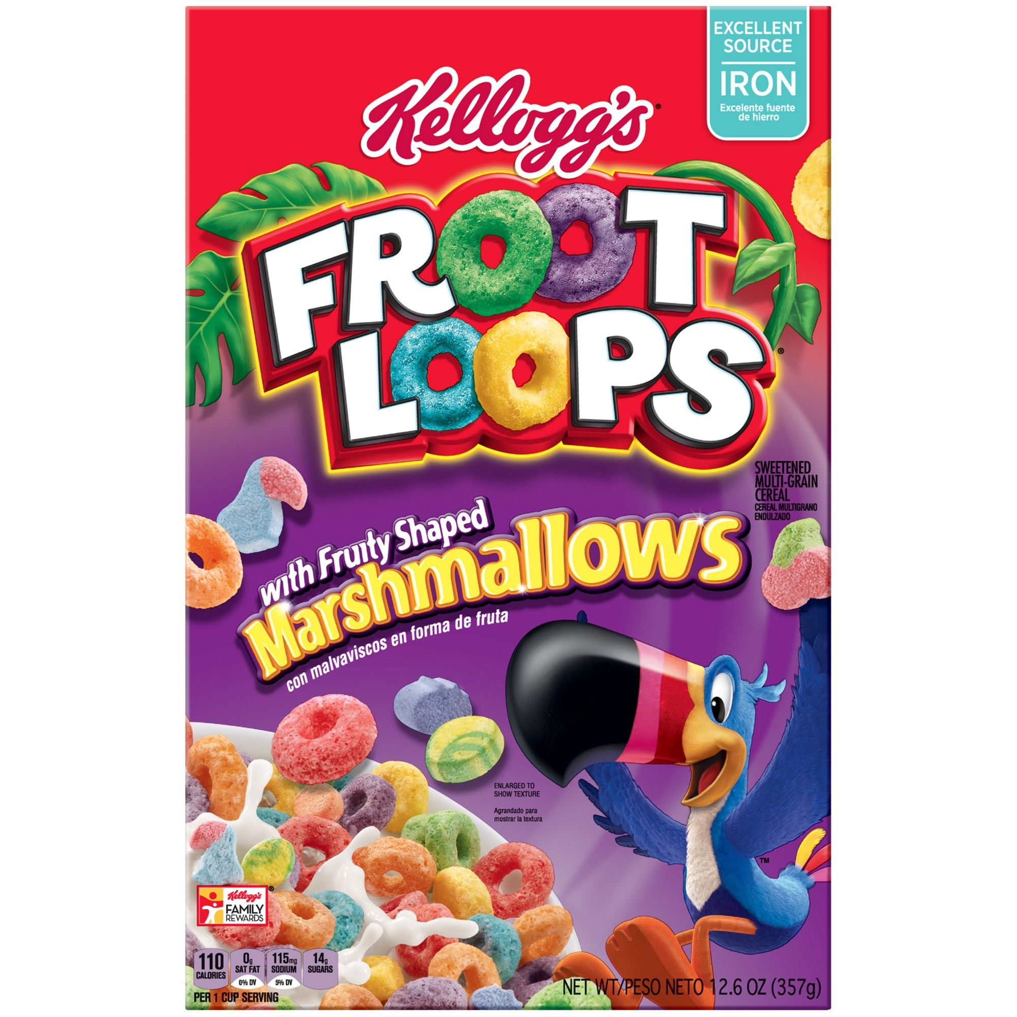 Fruit Loops With Fruity Shaped Marshmallows Breakfast Cereal 10 5oz Kellogg S Fruit Loops With Marshmallows Marshmallow Cereal Cereal Brands