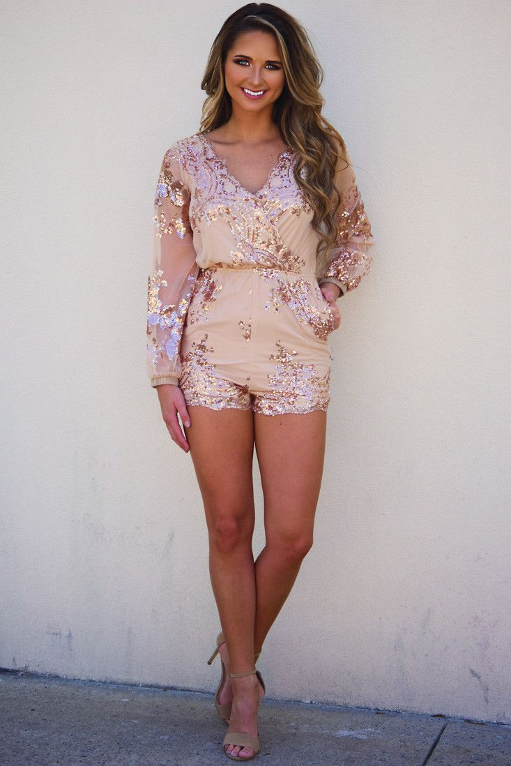 d80a968d393 Leave A Little Sparkle Romper  Gold  shophopes