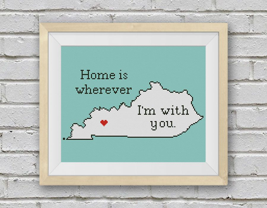 Cross Stitch Pattern, Kentucky Silhouette Map, BOGO FREE! Home Is Wherever.