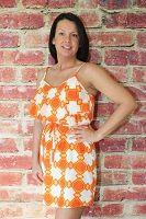 Orange Print Ruffle Tank Dress