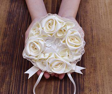 リングピロー〔シャンパンゴールドローズ〕手作りキット|巻きバラの飾りつけ|結婚式演出の手作りアイテム専門店B.G.