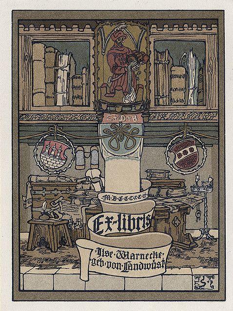 [Bookplate of Gise Warnecke geb von Landwust] by Pratt Institute Library, via Flickr