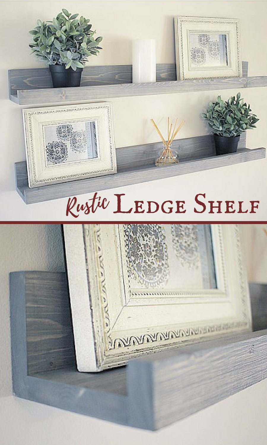 I love the functionality of this rustic ledge shelf and beautiful