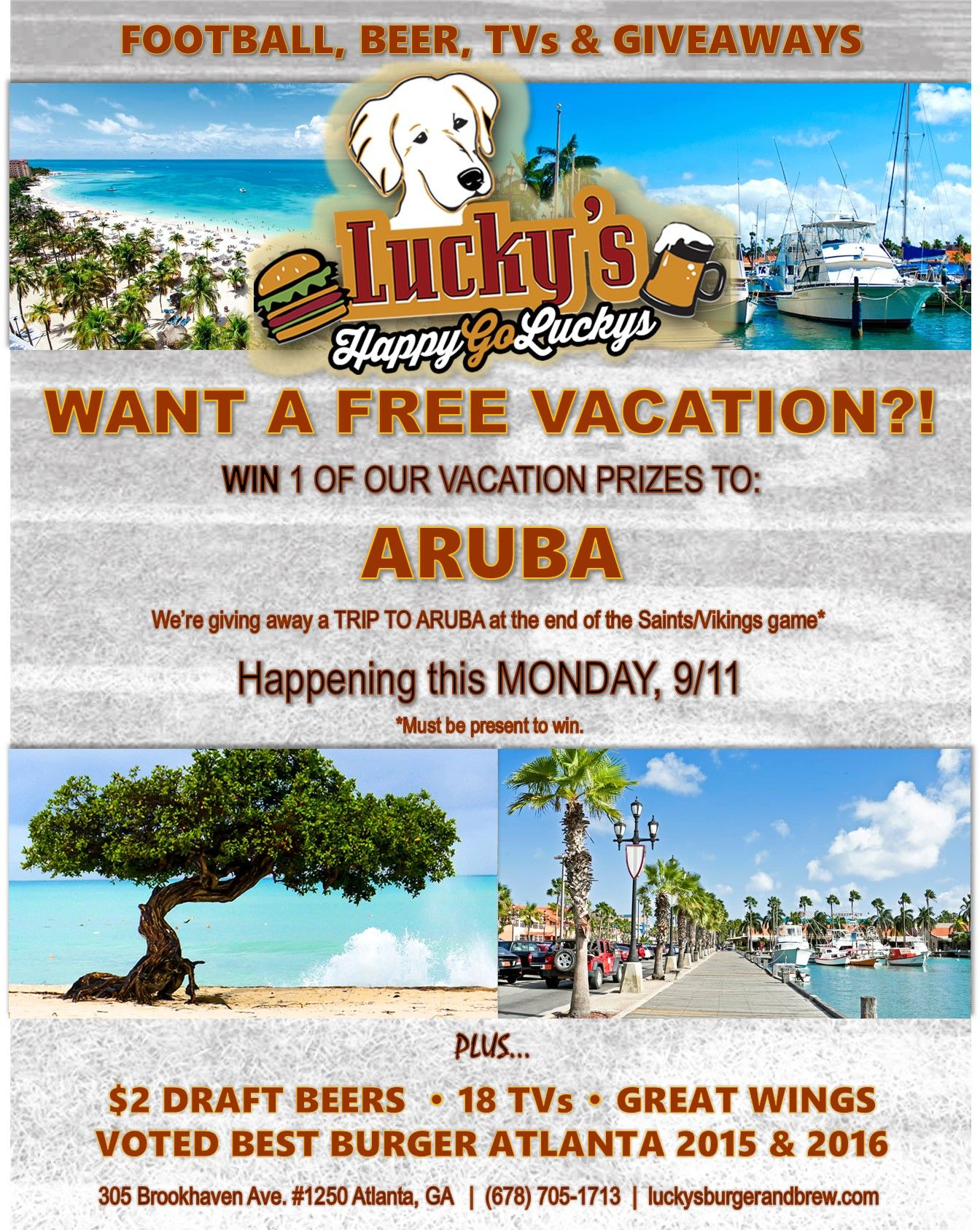 TOMORROW 9/11, you could win a FREE VACATION to Aruba! ️