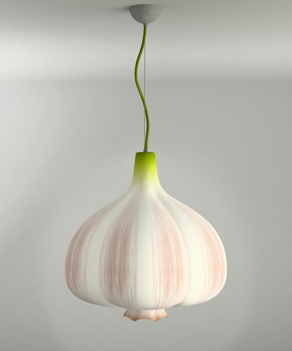 Garlic Lamp by Anton Naselevets - a great pendant shade lamp for the kitchen? Possibly. Or a cafe! #lighting #garlic #YankoDesign