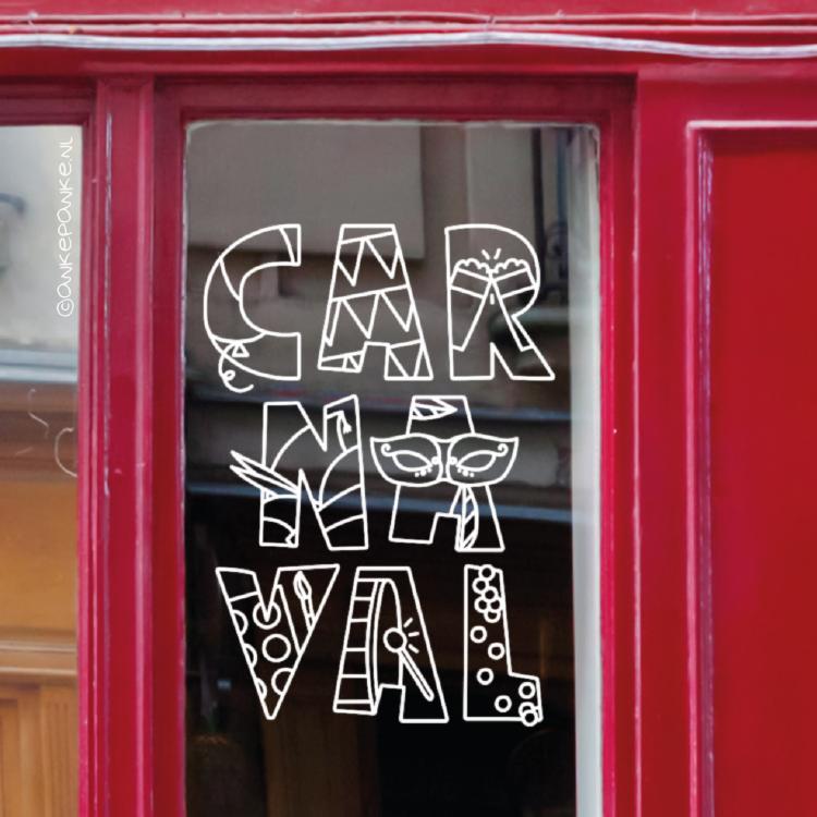 Carnaval letters raamtekening
