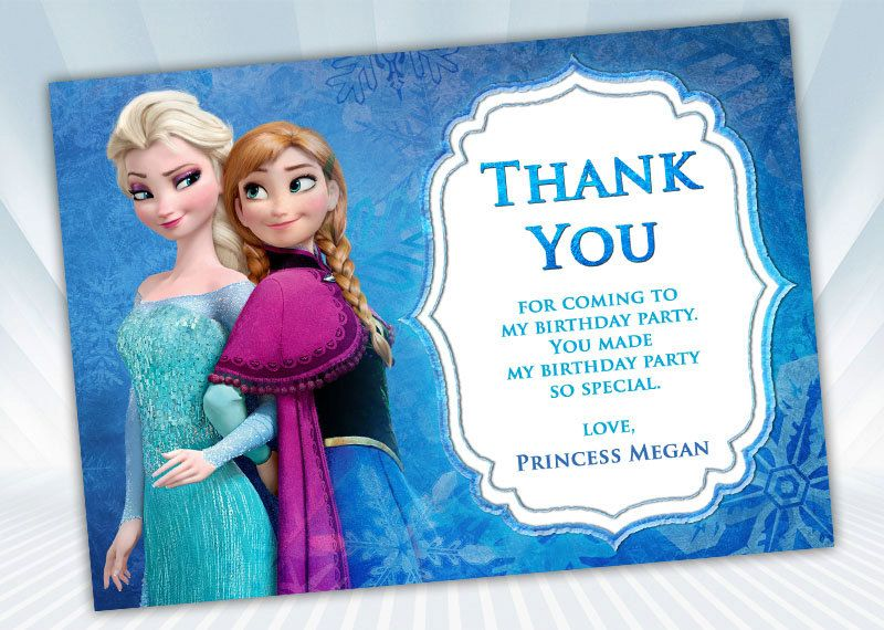 Frozen Thank You Card Etsy Frozen Invitations Disney Frozen Invitations Frozen Birthday Party Invites