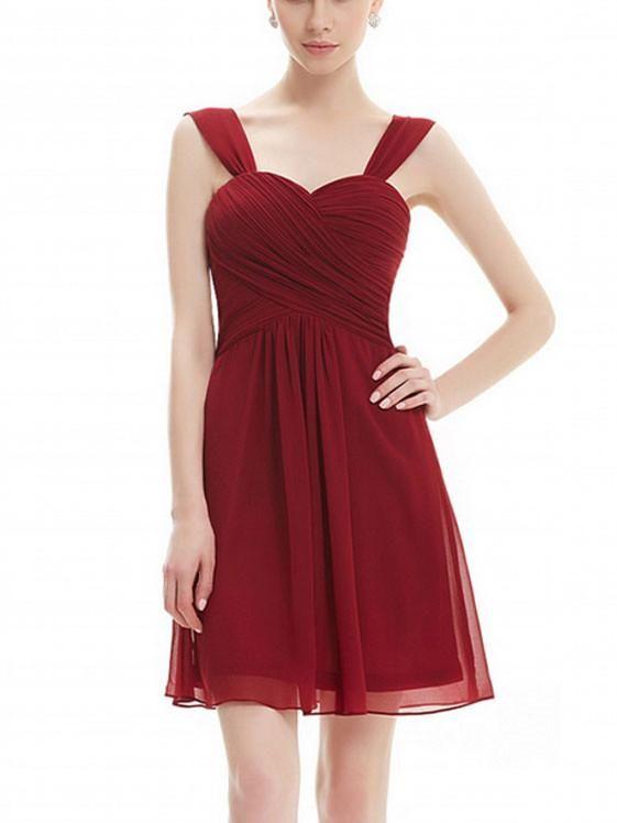 1d230017973 A-line Sweetheart Mini Chiffon Simple Short Burgundy Bridesmaid Dresses  ABC00016