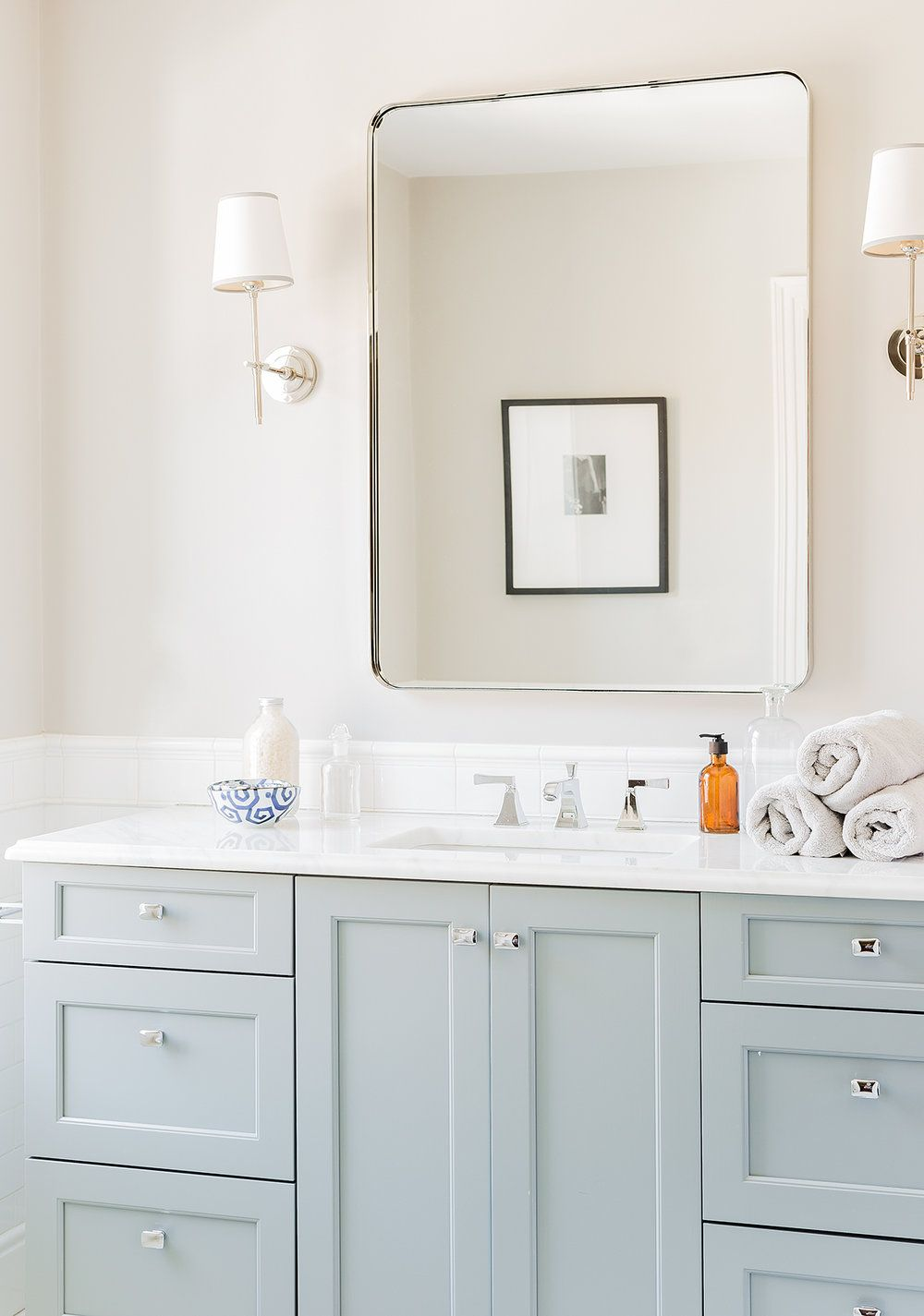 Baby blue/grey bathroom cabinets with polished nickel finishing - so ...