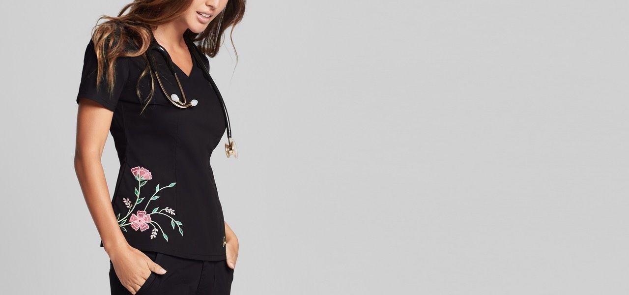 Embroidered Top Lookbook - Medical Scrubs by Jaanuu