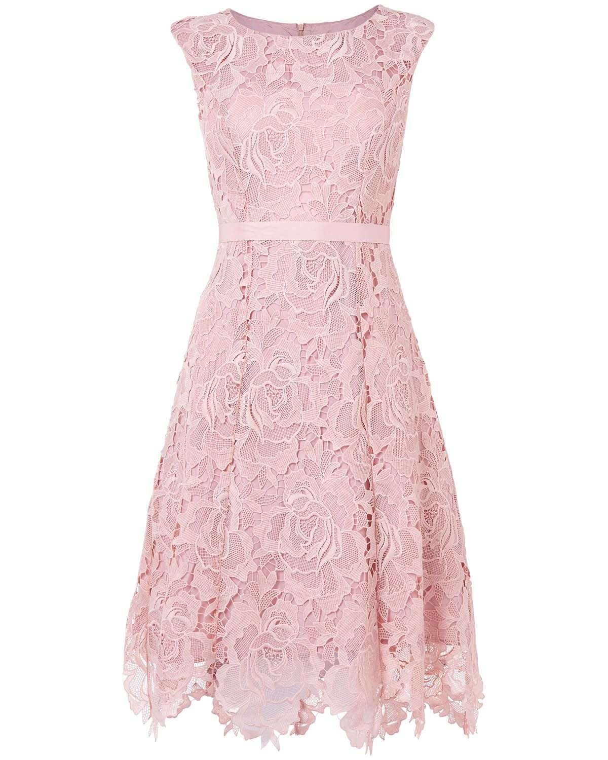 2ae8116e15099 mother of the bride | Pink Rose Lace Fit and Flare Dress | Phase ...