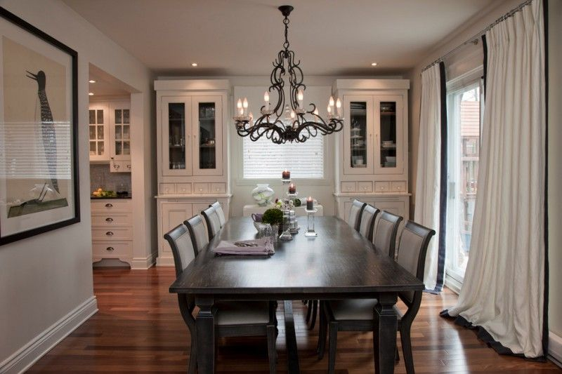 White Finishing Corner Cabinets Dark Grey Dining Chairs Finished Table Lovely Black Chandelier Toned Wood Floors Draperies W