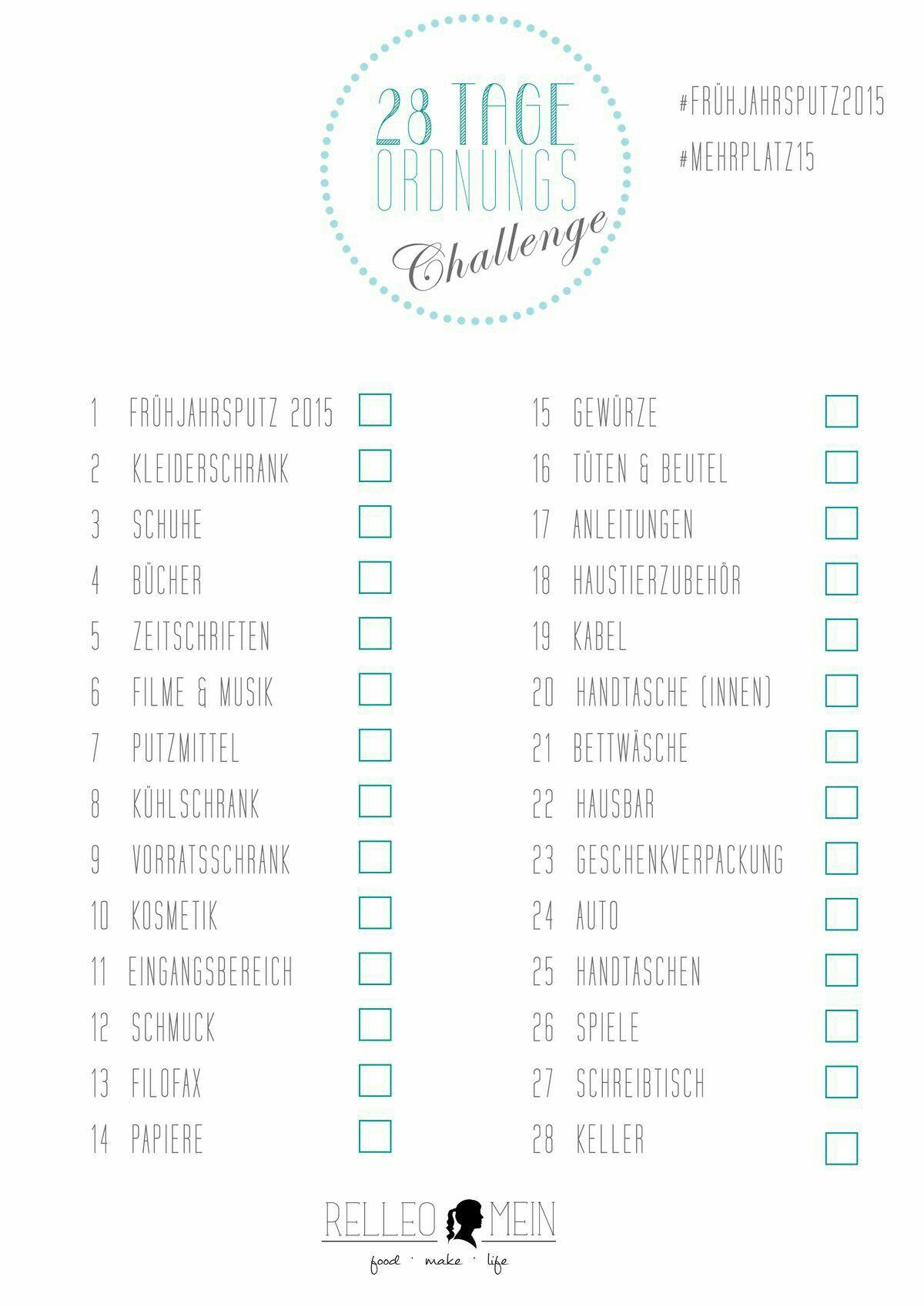 ordnung schaffen in 28 tagen checkliste haushalt startklar ideen pinterest ordnung. Black Bedroom Furniture Sets. Home Design Ideas