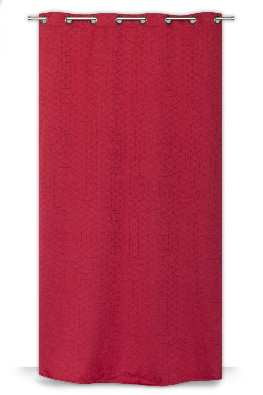 Rideau A Oeillets 135 X 260 Cm Style Scandinave Motif Geometrique Ton Sur Ton Rouge Rideaudiscount Rideaux Rideaux Oeillets Scandinavian Style