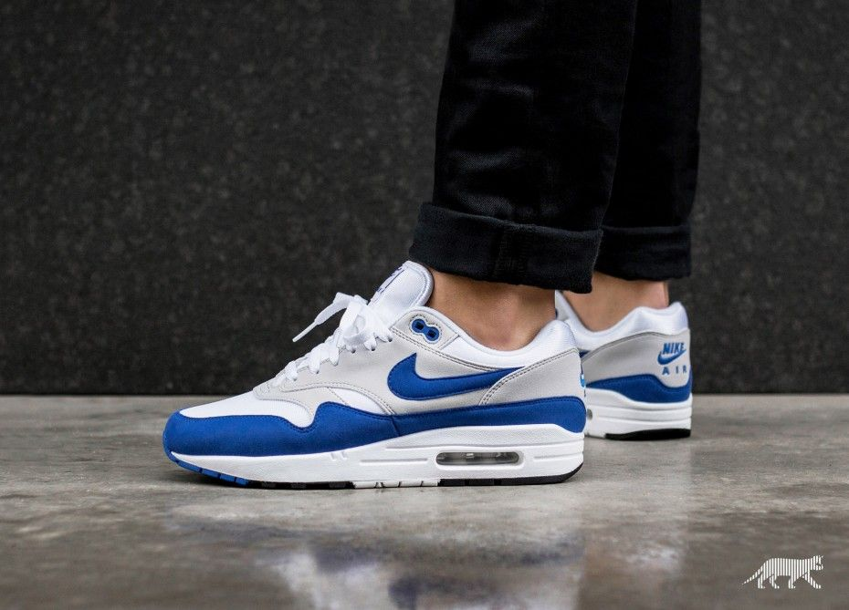 differently 8ba47 23c47 Nike Air Max 1  Anniversary  (White   Game Royal - Neutral Grey - Black)