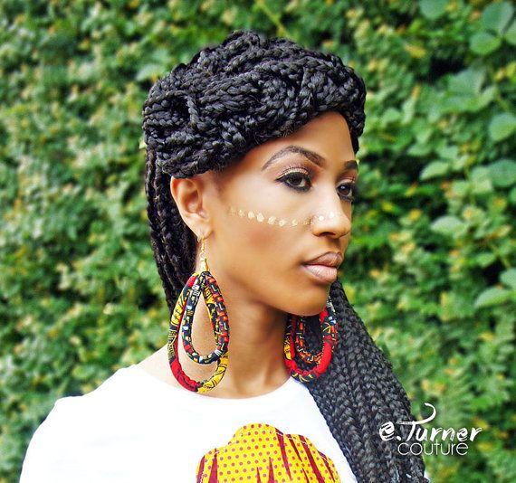 9d3d64af23181 Ankara African Hoop Earrings - OOAK Ankara Earrings - Unique Hoop ...
