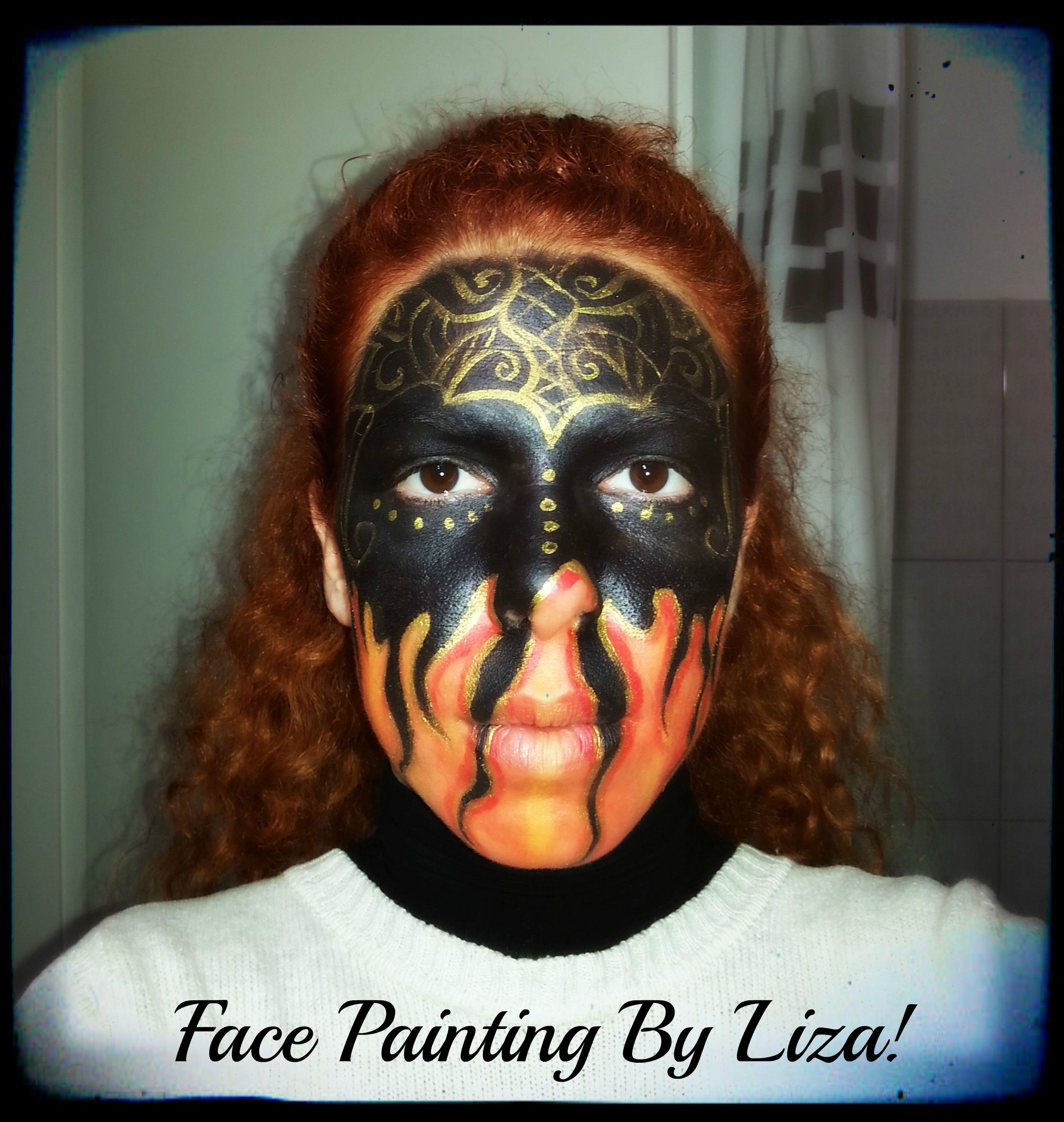 Dark fire face painting!