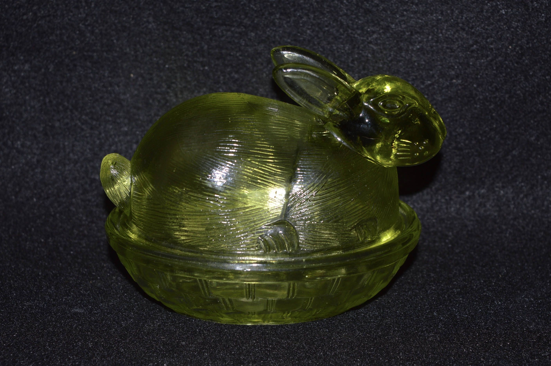 Vintage Green Rabbit Serving Dish