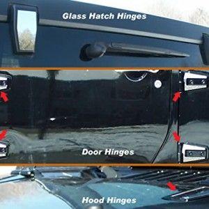 Autoz 12pc Chrome Jeep Wrangler Jk Hinge Cap Trim Kit Jeep Wrangler Doors Jeep Jeep Wrangler
