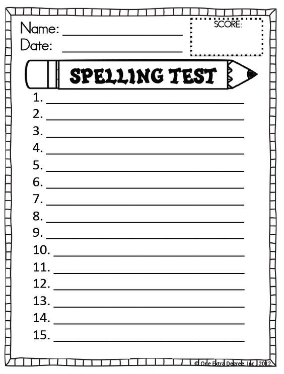 FREE Printable Spelling Test Template