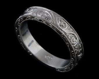Hand Engraved Men S Wedding Ring Vintage Style