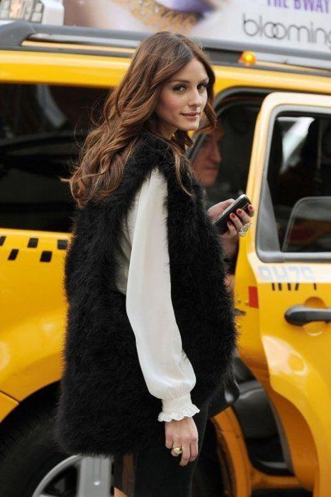 fur vest, white blouse