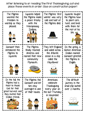 The First Thanksgiving With A Focus On Sequencing Thanksgiving Lessons Thanksgiving Story For Kids Thanksgiving Lesson Plans