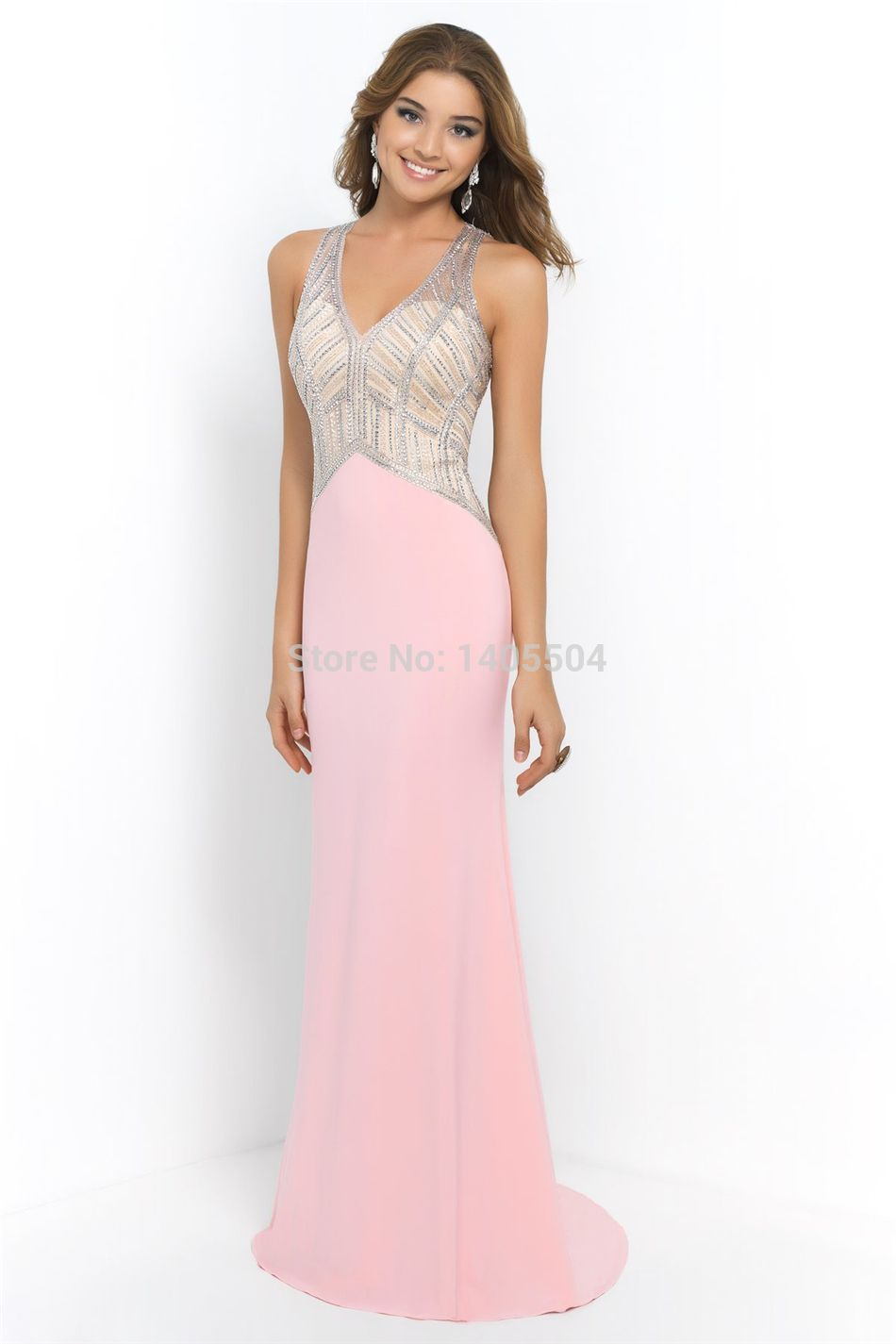 2015 Arrival sheer Prom Gowns crystals See through Party Dresses ...