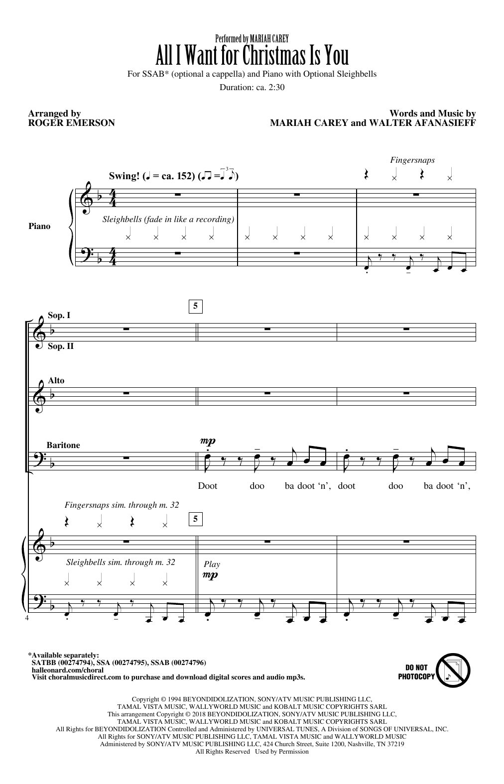 Mariah Carey 'All I Want For Christmas Is You (arr. Roger