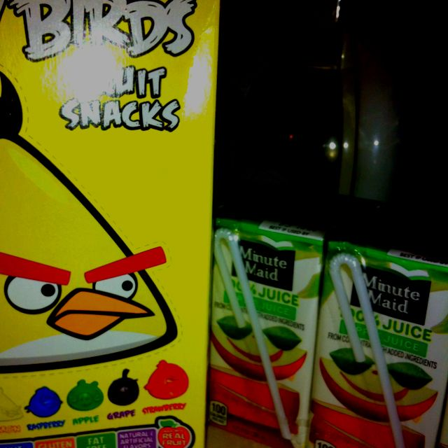 "What I'm giving my students for Val Day- Angry Birds gummies and an apple juice box in a cellophane bag, and the tag reads, ""There's nothing to be angry about, you're the apple of my eye!"""