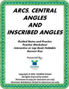 Arcs, Central Angles and Inscribed Angles for HS Students ...